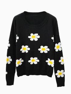 Black Jumper with Sun Flower Pattern - Choies.com