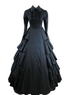 AvaLolita Black Long Sleeve Side Tiered Victorian Gothic Lolita Dress, XL