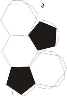 free printable template: black and white paper soccer ball