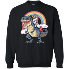 Unicorn Riding Dinosaur T rex Funny Unicorns Party Rainbow Squad Gifts For Kids Boys Girls S Crewneck Sweatshirt Gift Trending Design T Shirt Unicorn Outfit, Unicorn Shirt, Unicorn Clothes, Dinosaur Shirt, Dinosaur Funny, Crew Neck Sweatshirt, Graphic Sweatshirt, Pullover, T Shirt