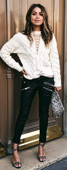 #sincerelyjules #spring #summer #besties | White Cable Knit + Black Moto Pants