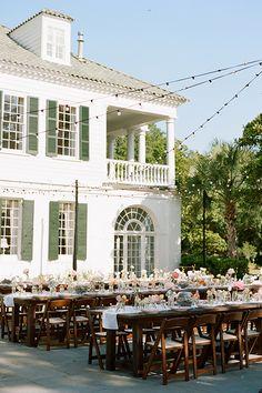 Gorgeous summery reception decor at a plantation wedding | Austin Gros | Brides.com