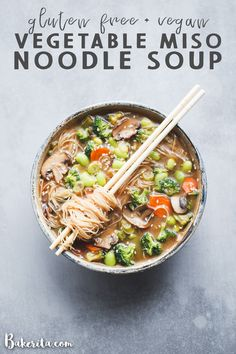 Make this easy Gluten-Free & Vegan Vegetable Miso Noodle Soup for dinner tonight! It's simple to make in under 30 minutes and irresistibly delicious. You can customize the soup with whatever vegetables you have on hand. Vegan Soups, Vegetarian Recipes, Healthy Recipes, Free Recipes, Recipes With Miso Soup, Vegan Miso Soup, Vegan Ramen, Kraft Recipes, Quick Recipes