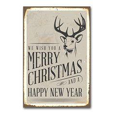 """weihnachtliche Wanddekoration Blechschild """"merry christmas / reindeer"""" / ca. 30x45 cm / Weihnachtsdeko / vintage Cuadros Lifestyle http://www.amazon.de/dp/B00PAIDY8M/ref=cm_sw_r_pi_dp_33Yyub0WA7911"""
