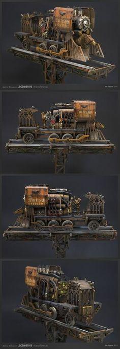 """Mechanicus Train / Locomotive"" by de-Zigner. #model_railways #Steamengine #Fantasy_locomotive"
