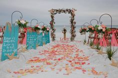 So inspired by this beach wedding from http://www.barefootweddings.net/ ~Find beach wedding decor at Afloral.com to DIY your destination wedding on a budget and find more inspiration with Barefoot Weddings.
