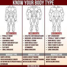Know your body type. (I think it's funny that when these charts are posted, they always use the most muscular and lean drawings for each body type, ignoring what is actually the case in reality. For the most part, I'm probably an ecto, but I definitely don't look like the drawing in this photo, and I doubt that many people do look like these guys, regardless of body type.)