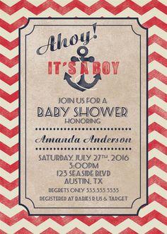 Nautical Baby Shower   Custom Invitations   Digital