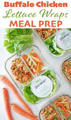 Buffalo Chicken Lettuce Wraps - a light and easy, meal prep ready summer lunch that you can make in the slow cooker.
