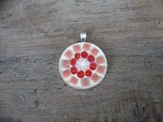 Ronde mozaiek hanger roze/rood nu gevoegd