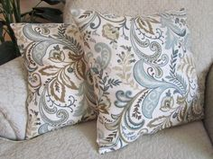 Decorative Throw Pillow Cover Cushion Cover - Beige Taupe Set of Two  - 16 x 16 Modern Scroll. $44.95, via Etsy.