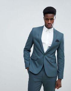 ASOS Skinny Suit Jacket In Petrol Blue