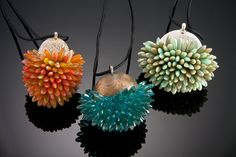 Felt, Glass Beads & Fine Silver neckpieces by artist Shelley Jones... see more..  http://shelleyjones.net/home.html
