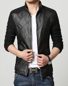 KIWEN® Men's PU Leather Collar Jacket Casual Wear(Black,M size)