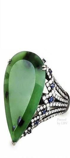 Bochic Jade and diamond Ring