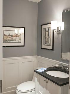 wall color and trim for powder room Pikes Peak Gray - Benjamin Moore. Traditional Powder Room by Larchmont Interior Designers & Decorators Downstairs Bathroom, Bathroom Renos, Bathroom Ideas, Wainscoting Bathroom, Bath Ideas, Wainscoting Styles, Bathroom Fixtures, Gray Bathrooms, Painted Wainscoting