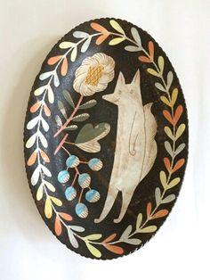illustration on pottery | plate by illustrator, designer & potter Makoto Kagoshima