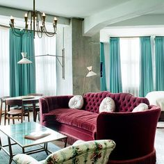 Burgundy & Turquoise Bedroom at Soho House Berlin on HOUSE - design, food and travel by House & Garden. Velvet textures add a new variety to the space.