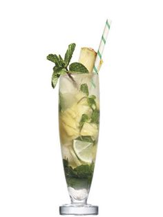 Pineapple Mojito  6 chunks of canned or fresh pineapple  8 mint leaves  1/2 oz. simple syrup (dissolve one part sugar in one part hot water)  Juice from a lime, plus a couple of pieces  2 oz. Bacardi Limón rum  Splash of soda      Muddle all ingredients but rum in a glass. Add ice, rum, and a splash of soda. Stir well. Garnish with pineapple.