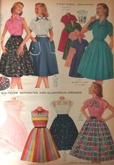 94d5e6fbc2 1958 girls dresses and skirt outfits 1950s Fashion Dresses, 1950s Outfits,  Vintage Outfits,