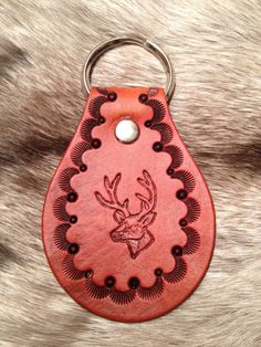 Hand Tooled Leather Key Fob Deer Head by LykosLeathers on Etsy, $5.00
