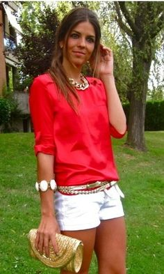 Classy summer outfit with all of the right accessories. That poppy, kinda coral color is freaking amazing with white. Imagine that color up against a dark tan with the white cuff bracelet? Oh baby...now we're talking!