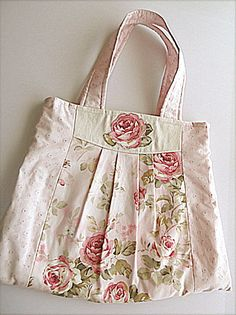 Shabby chic purse or diaper bag in beautiful rose pattern with an appliqued rose on the front of the bag. Handmade Handbags, Handmade Bags, Fabric Purses, Patchwork Bags, Denim Bag, Vintage Bags, Cloth Bags, Tote Purse, Beautiful Bags
