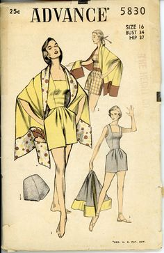 1950s Bathing Suit Pattern Advance 5830 Bust 34 One by CynicalGirl