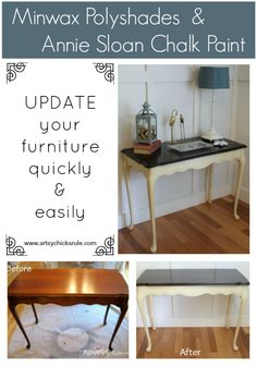 Complete a project - ------------------------- Antique Sofa Table Redo with Polyshades and Chalk Paint - updated quickly and easily with these 2 products Refurbished Furniture, Paint Furniture, Repurposed Furniture, Furniture Projects, Furniture Making, Furniture Makeover, Home Furniture, Armoire Makeover, Diy Projects