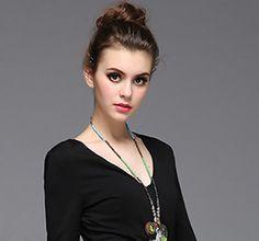 Ziyi Black V-Neck Print Patched Dress | Maxi Dresses at DEZZAL