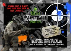 Paintball Combat Birthday Party Invitation Paint ball