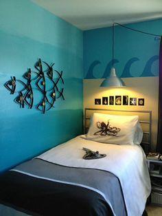 Farbgestaltung fürs Jugendzimmer – 100 Deko- und Einrichtungsideen - meeresthema fische welle hängelampe industriell stil