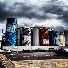 Silo Park - Auckland, New Zealand Round Building, Auckland, Windmill, Four Square, New Zealand, Street Art, Buildings, Sunset, Park