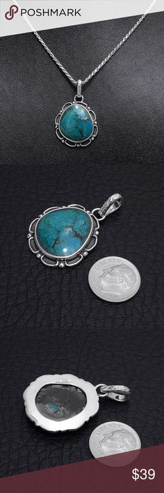 """Sterling Silver Chrysocolla Pendant (pendant only) Pendant Stamped """"Sterling"""". Authentic Chrysocolla with natural scratches & inclusions.  This is not a stock photo. The image is of the actual article that is being sold  Sterling silver is an alloy of silver containing 92.5% by mass of silver and 7.5% by mass of other metals, usually copper. The sterling silver standard has a minimum millesimal fineness of 925.  All my jewelry is solid sterling silver. I do not plate.   Hand crafted in…"""