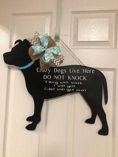 Excited to share this item from my shop: Pit Bull Door Hanger Wood Crafts, Fun Crafts, Pet Door, Wooden Door Hangers, Dog Signs, Animal Signs, Knit Pillow, Christmas Door, Christmas Crafts