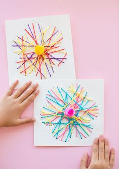 Kid made DIY String Art Flower Cards Thes pretty handmade cards are fun for kids to make as a spring craft or Mother's Day card. They're also great for practicing fine motor skills and/or beginner sewing for kids!