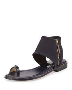 Lily Stretch-Ankle Flat Sandal, Navy - Donald J Pliner