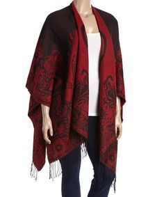 Look what I found on #zulily! Black & Red Floral Fringe Ruana - Plus #zulilyfinds
