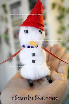 Hola a todos amigos,  aquí estoy con cosas aún de Navidad, pero es que era mucho lo que hice en casa y con mis sobrinos que poco a poco lo iré poniendo al día ;)  Este muñeco de nive es delicado y frágil, pero es muy sencillo de hacer y queda muy gracioso. Yo creo que es ideal para meterlo en un bote de conservas de cristal y ponerlo al lado