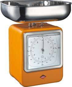 Wesco Keukenweegschaal en klok oranje