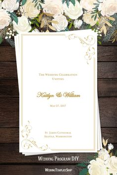 Wedding Program DIY, Ceremony Order of Service Printable Template, Elegance Design series in Champagne.