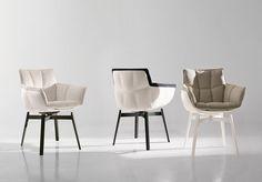 Chaise contemporaine / tissu / par Patricia Urquiola / tapissée HUSK OUTDOOR B&B Italia
