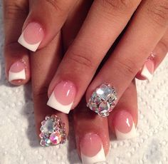 French tip with rhinestones