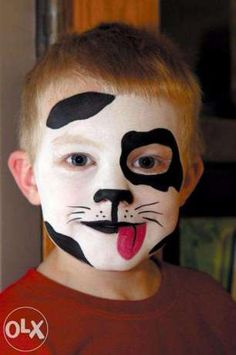 halloween-makeup-ideas-boys-kids-cute-black-white-puppy from: www.diy-enthusias… Halloween Makeup for DIY Face Painting Ideas for Cute Halloween Makeup Ideas Face Painting Designs, Paint Designs, Body Painting, Dog Makeup, Kids Makeup, Makeup Ideas, Funny Makeup, Scary Makeup, Makeup Tips