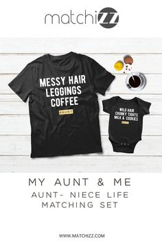 Aunt and Niece Matching Shirts Auntie Girl Life Funny Gift Aunt And Niece Shirts, Dad And Son Shirts, Baby Shirts, Kids Shirts, Boy Best Friend Gifts, Father Son Matching Outfits, Aunt Baby Clothes, Niece Gifts, Matching Shirts