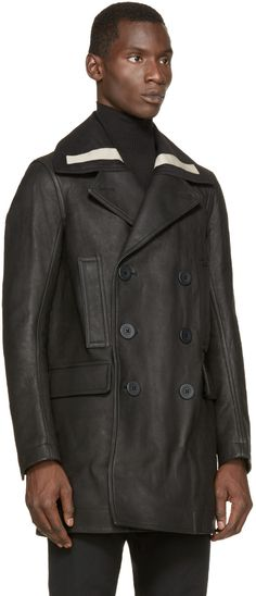 Rick Owens Black Leather Peacoat