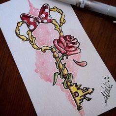 Bildergebnis für Tattoo-Disney-Schlüssel - Tattoo Trends and Lifestyle Cute Disney Drawings, Cute Drawings, Tattoo Drawings, Drawing Disney, Tattoo Ink, Disney Castle Drawing, Flower Drawings, Tattoo Blog, Disney Sleeve