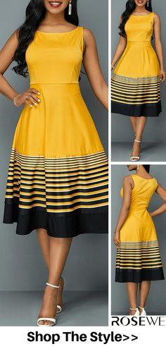 Sleeveless Stripe Print High Waist Dress HOT SALES beautiful dresses, pretty dresses, holiday fashion, dresses out Dresses Elegant, Pretty Dresses, Sexy Dresses, Beautiful Dresses, Dress Outfits, Casual Dresses, Short Dresses, Fashion Outfits, Summer Dresses