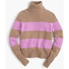 J.Crew Collection Cashmere Ribbed Turtleneck Sweater ($395) ❤ liked on Polyvore featuring tops, sweaters, striped top, tissue turtleneck, ribbed turtleneck sweater, stripe sweater and striped cashmere sweater