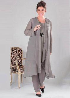 e59011eab4  125.99  Fantastic Pant Suits Chiffon Scoop Neckline Full-length Mother Of  The Bride Dresses